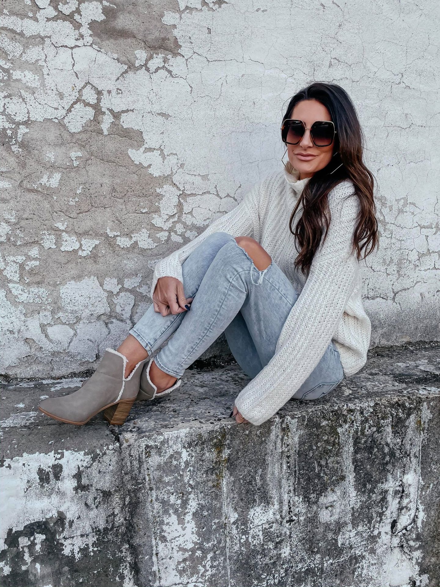 Winter white sweater and sherpa lined booties